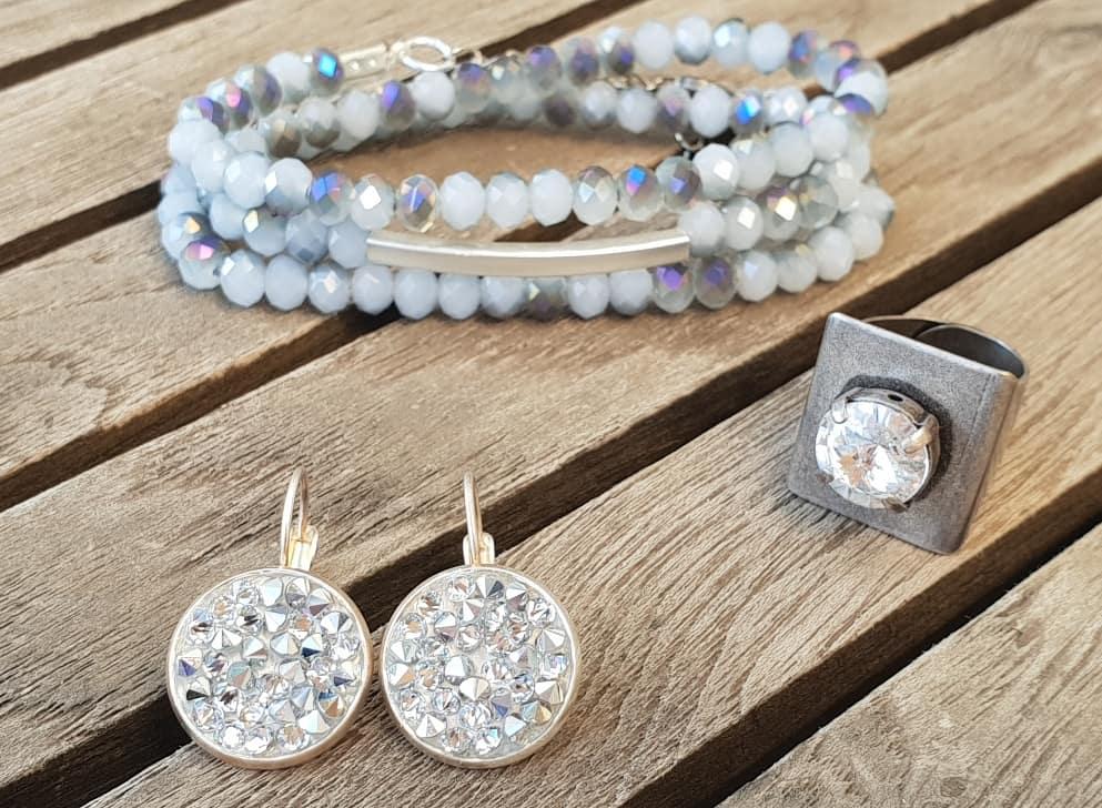 עגיל כסף סברובסקי, טבעת כסף סברובסקי, צמיד אפור קריסטל, תכשיטים, תכשיט אופנה, צמידים
