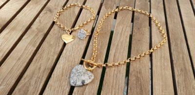 שרשרת זהב תליון לב צמיד זהב תליון לב בסגנון טיפאני טבעת זהב סברובסקי שרשרת אופנה צמידים שרשראות