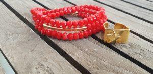 צמיד אדום, טבעת זהב, טבעת כוכב, תכשיטי אופנה, MFcollection, מתנה לאישה